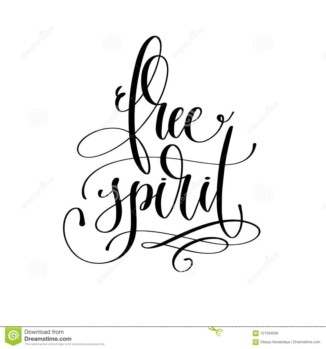 Free Spirit Black And White Hand Lettering Text Stock Vector