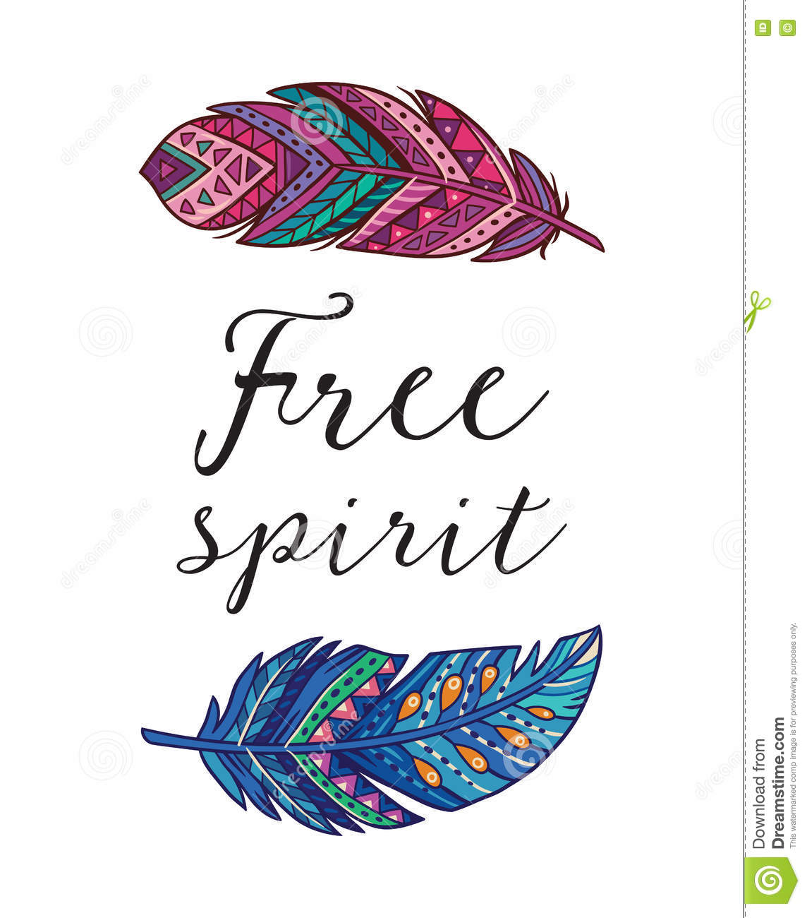 Free Spirit Vector Card With Ethnic Decorative Feathers Stock