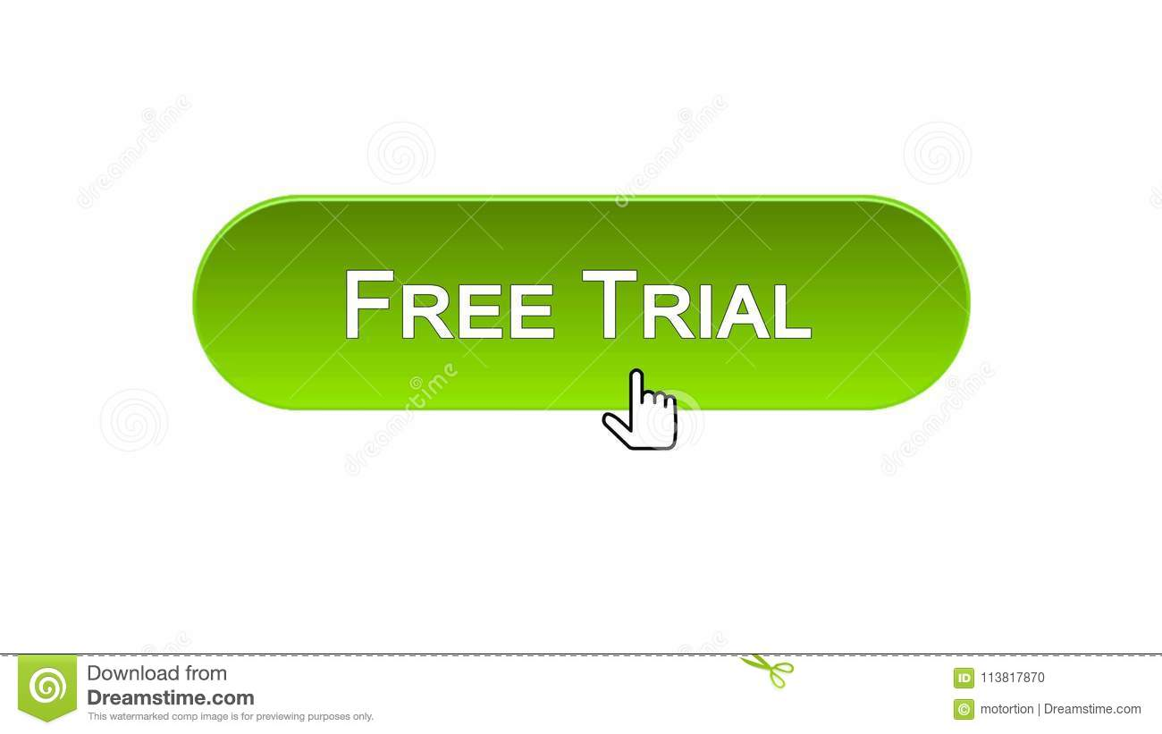 Download Free Trial Web Interface Button Clicked With Mouse Cursor Green Color Software Stock