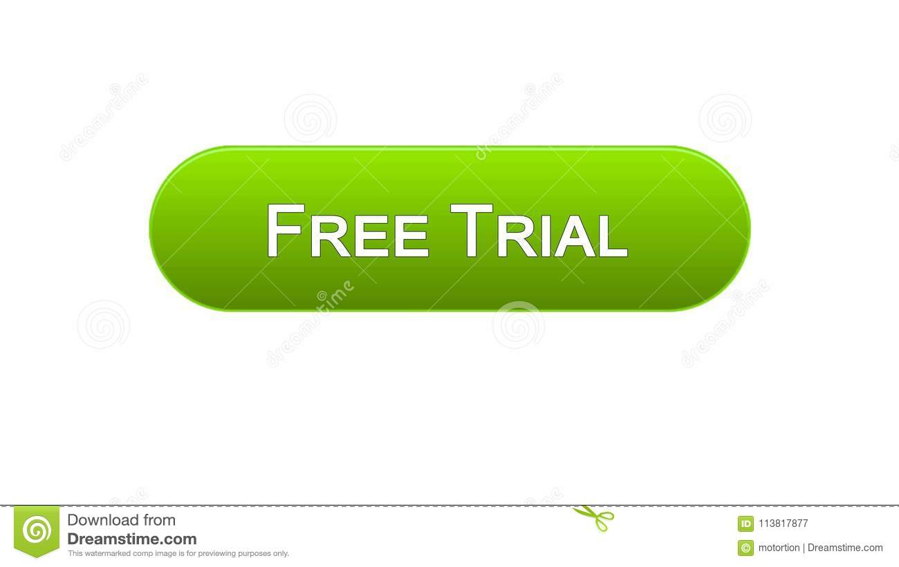 Free Trial Web Interface Button Green Color, Application Advertising