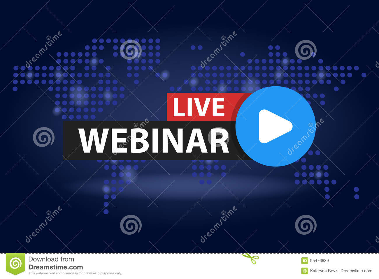 Free webinar play online button in blue dark world map background download comp gumiabroncs Gallery