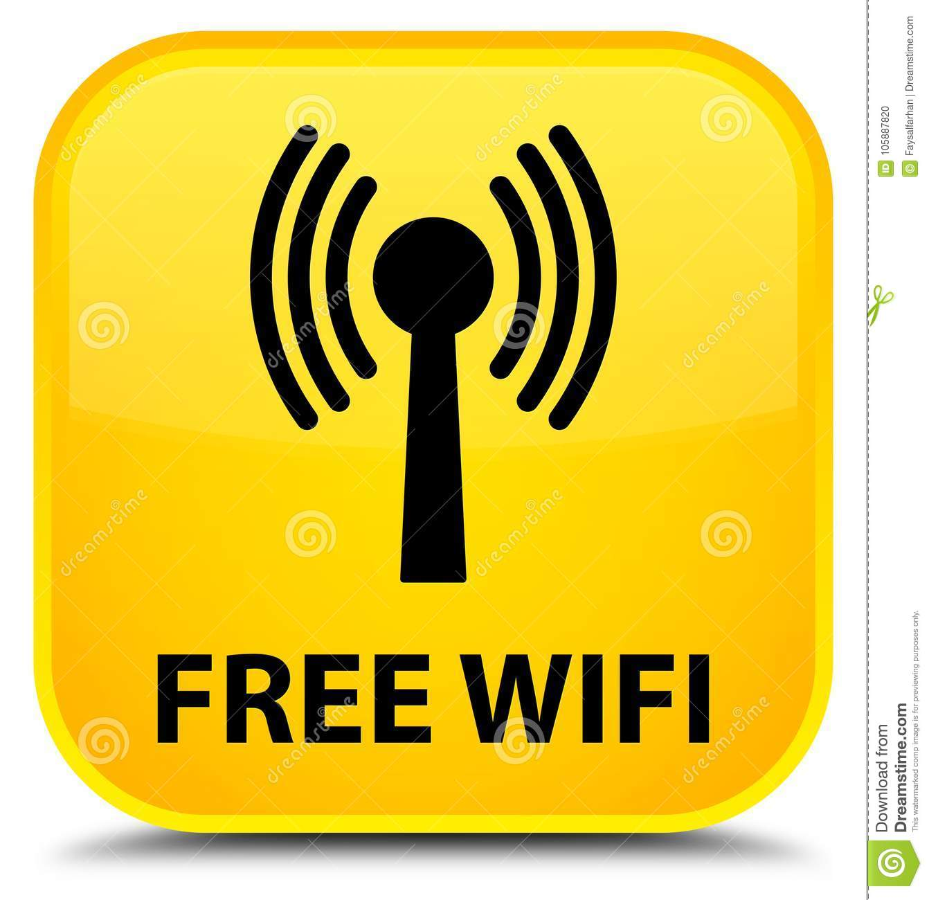 Free Wifi (wlan Network) Special Yellow Square Button Stock