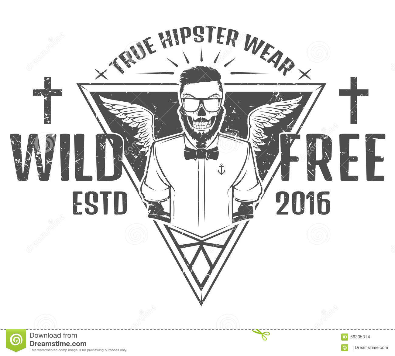 Hipster T Shirt Design | Free And Wild Hipster Style Design Of Print For T Shirts Stock