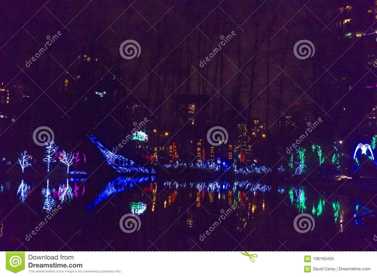 Christmas Runway Lights.Lafarge Lake Christmas Lights Stock Image Image Of Outdoor