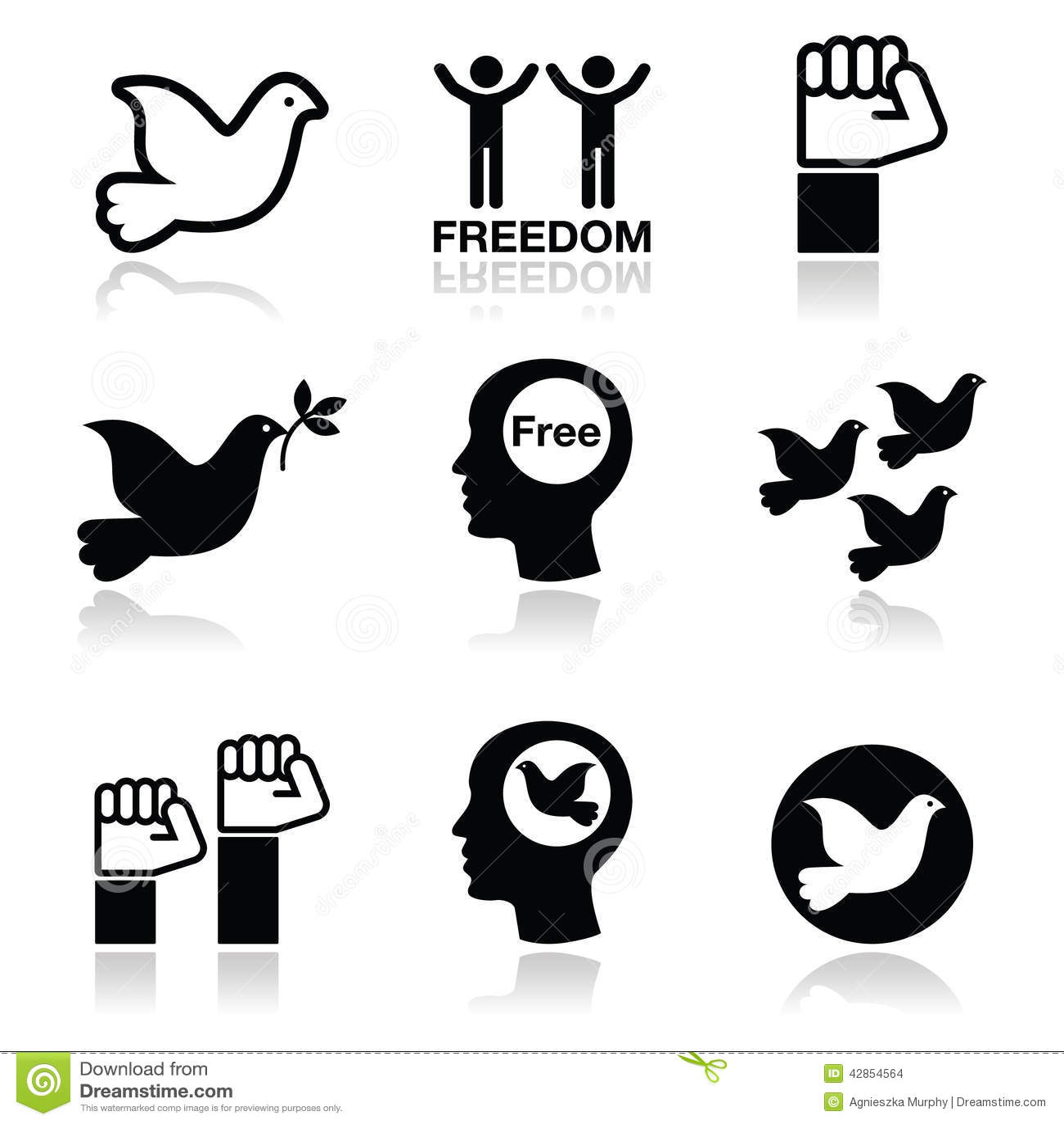 Freedom icons set - dove and fist symbols