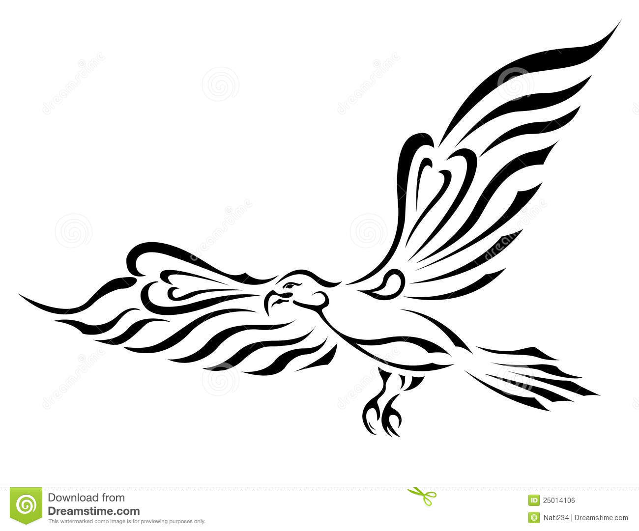 Freedom symbol tattoo flying eagle with big wings royalty for Freedom tribal tattoos