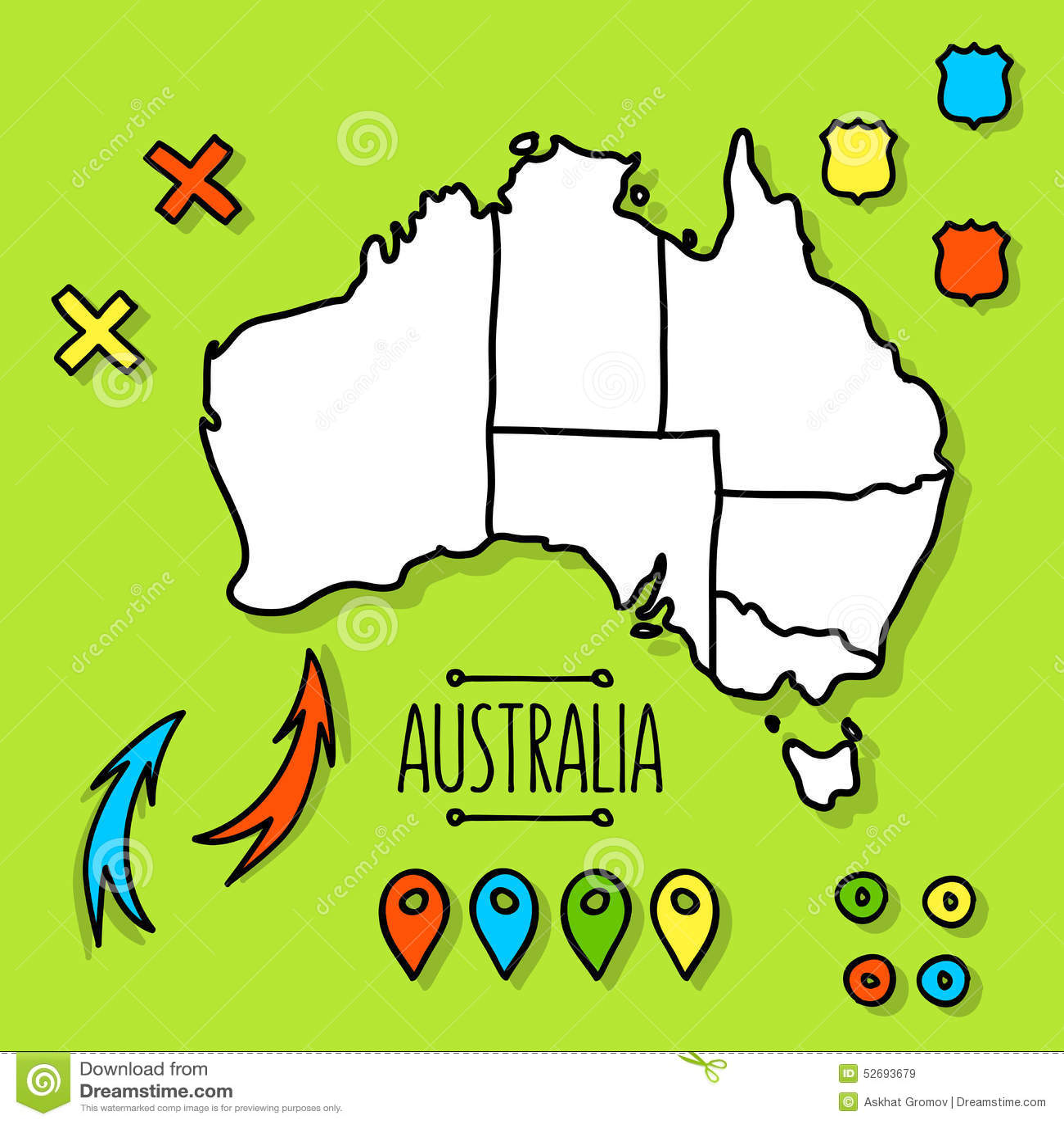 Freehand Australia Travel Map On Green Background Vector – Travel Map of Australia