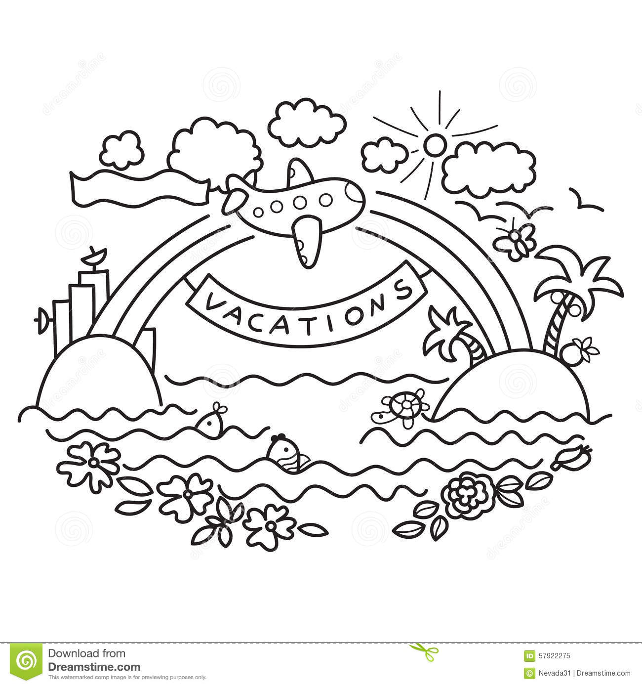 Freehand Drawing Flight Of Airplane Stock Illustration