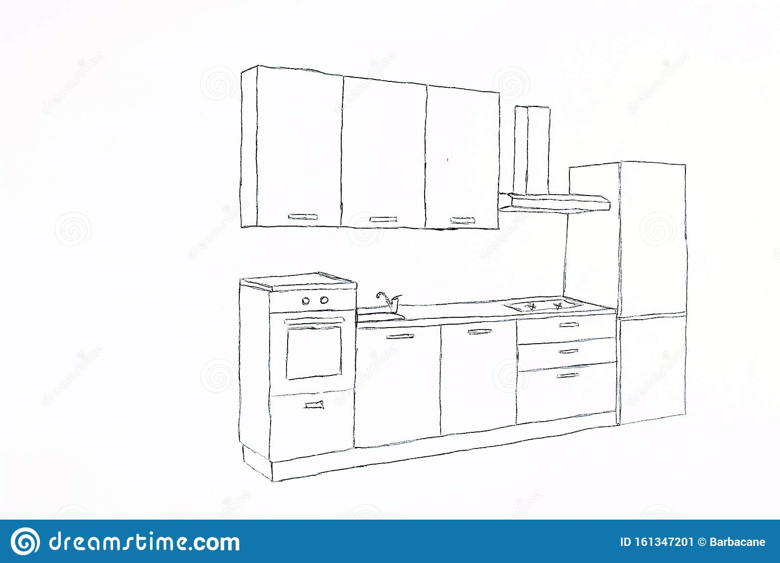 Freehand Drawing   Kitchen Cupboard Stock Illustration ...