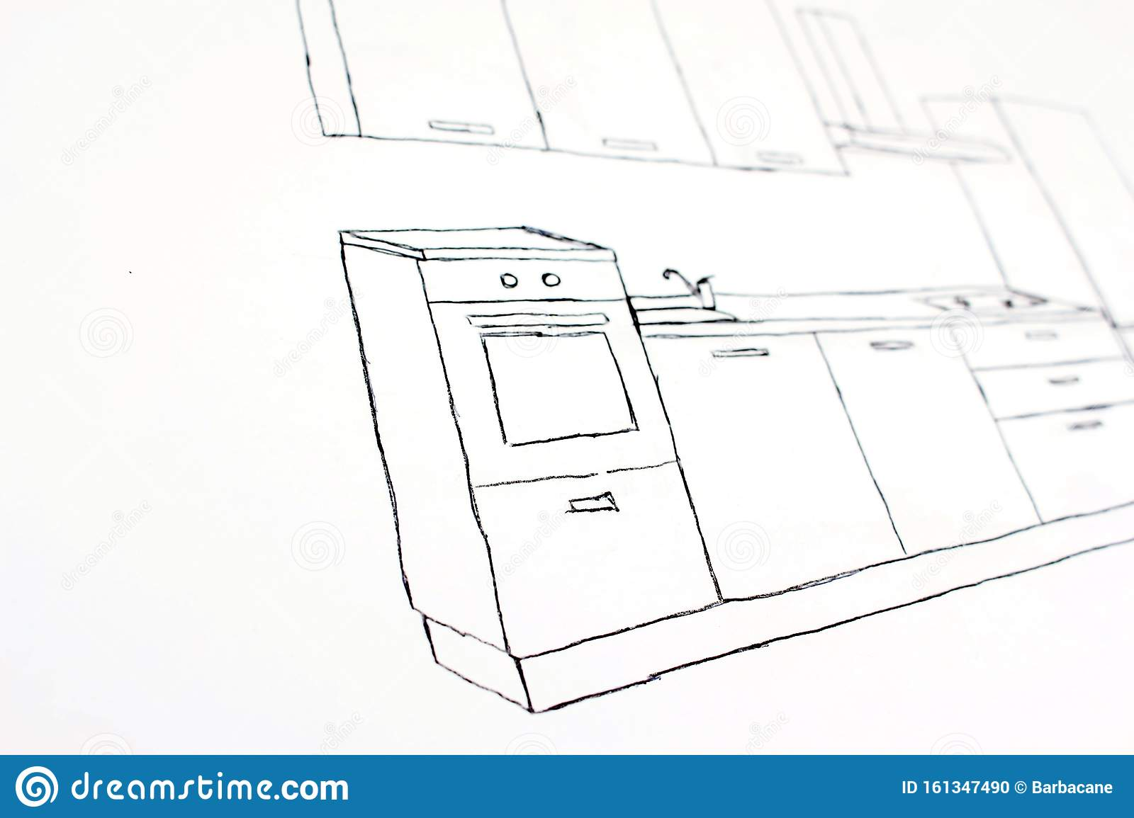 Freehand Drawing   Kitchen Cupboard Stock Photo   Image of design ...