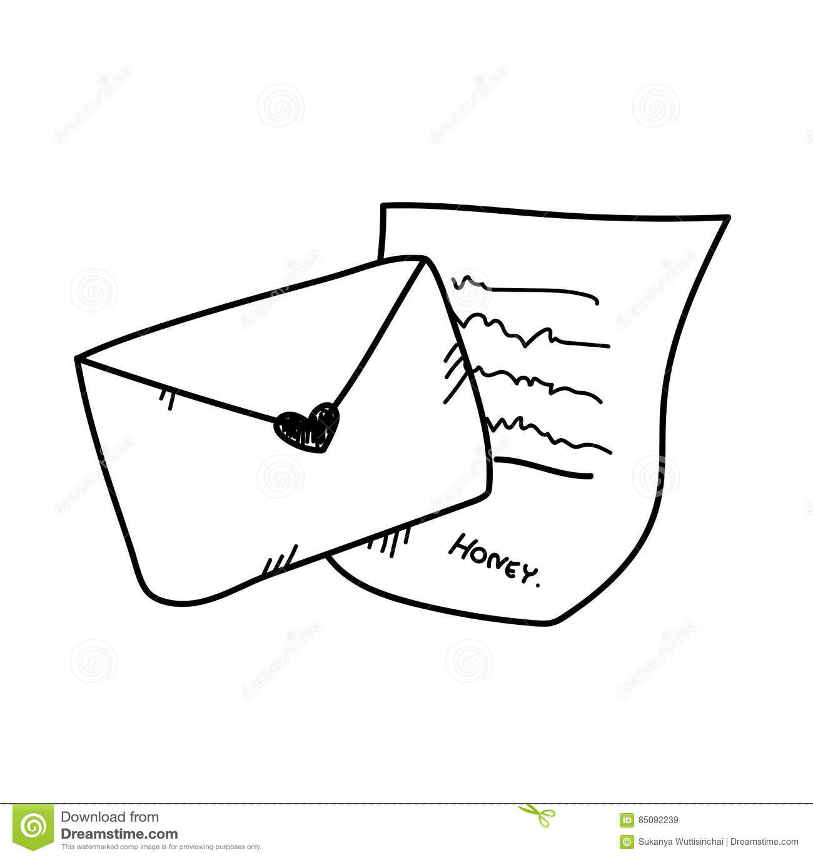 freehand drawing love letter illustration. stock illustration