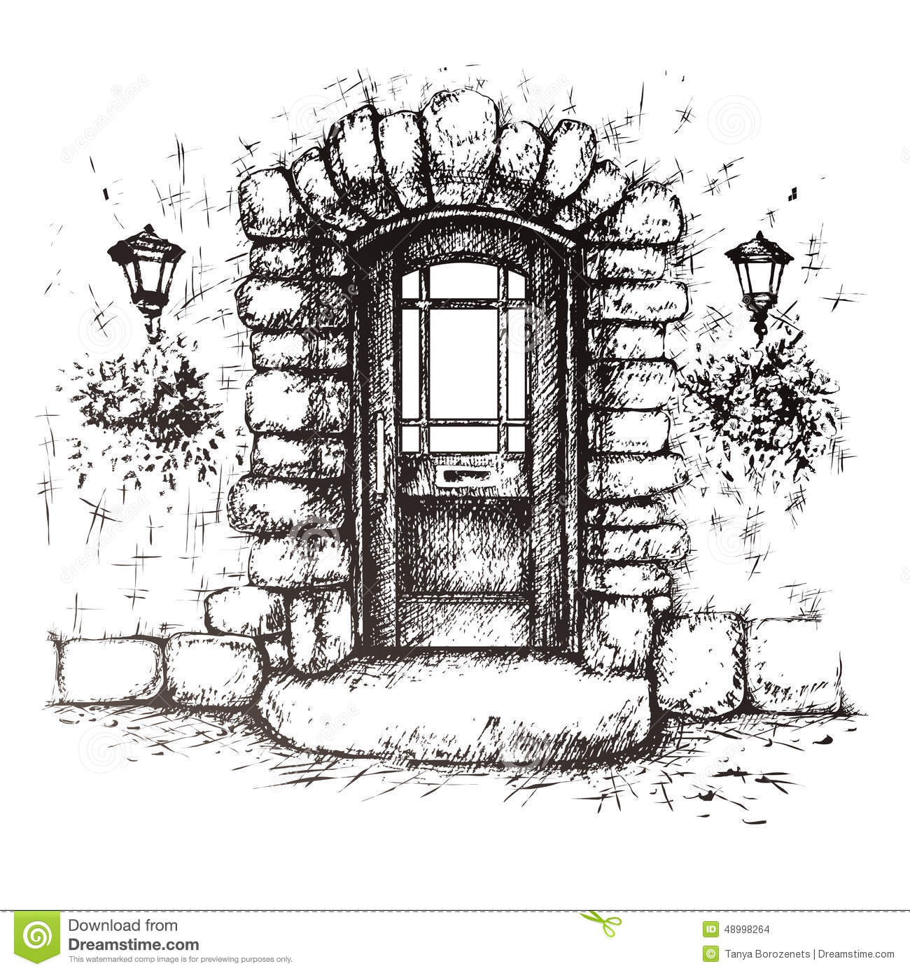Freehand drawing of old front door stock vector image 48998264