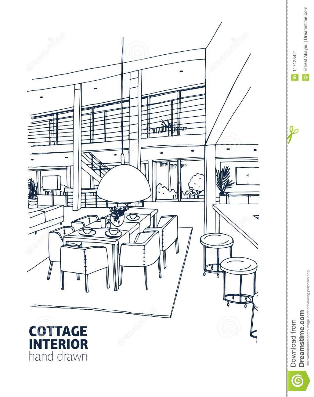 Inside House Drawing: Freehand Drawing Of Residential House Or Summer Cottage