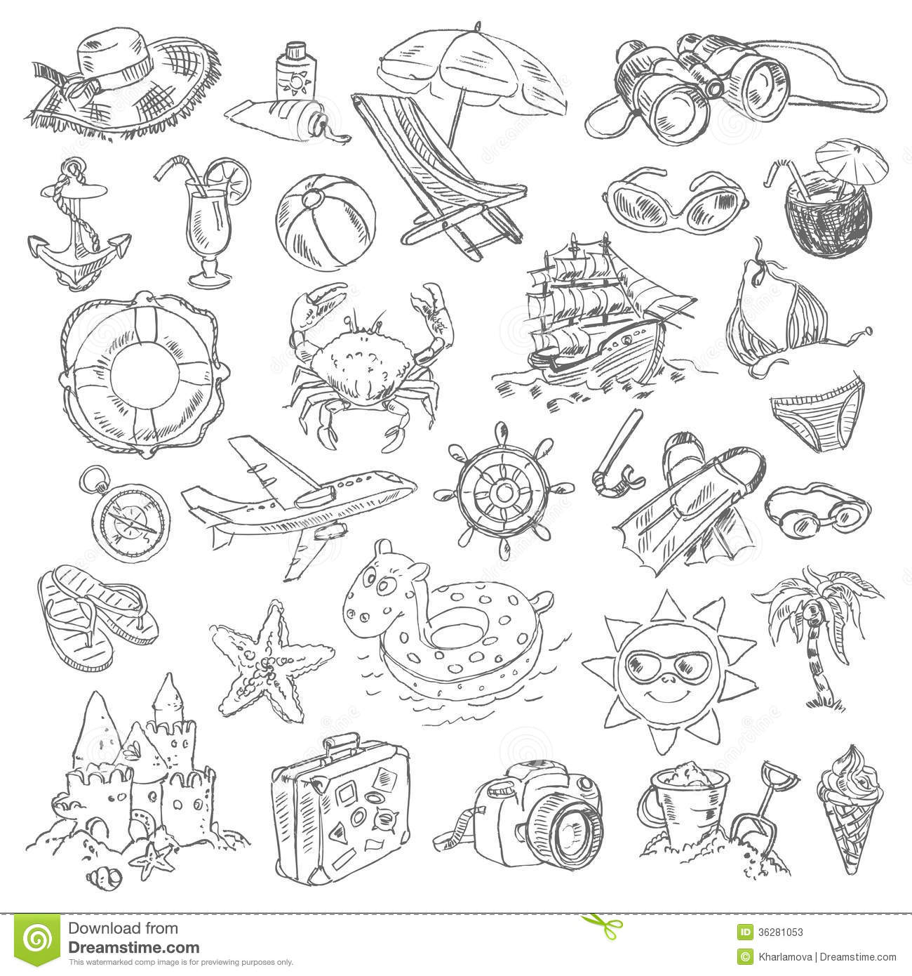 Freehand Drawing Summer Vacation Stock Photos Image