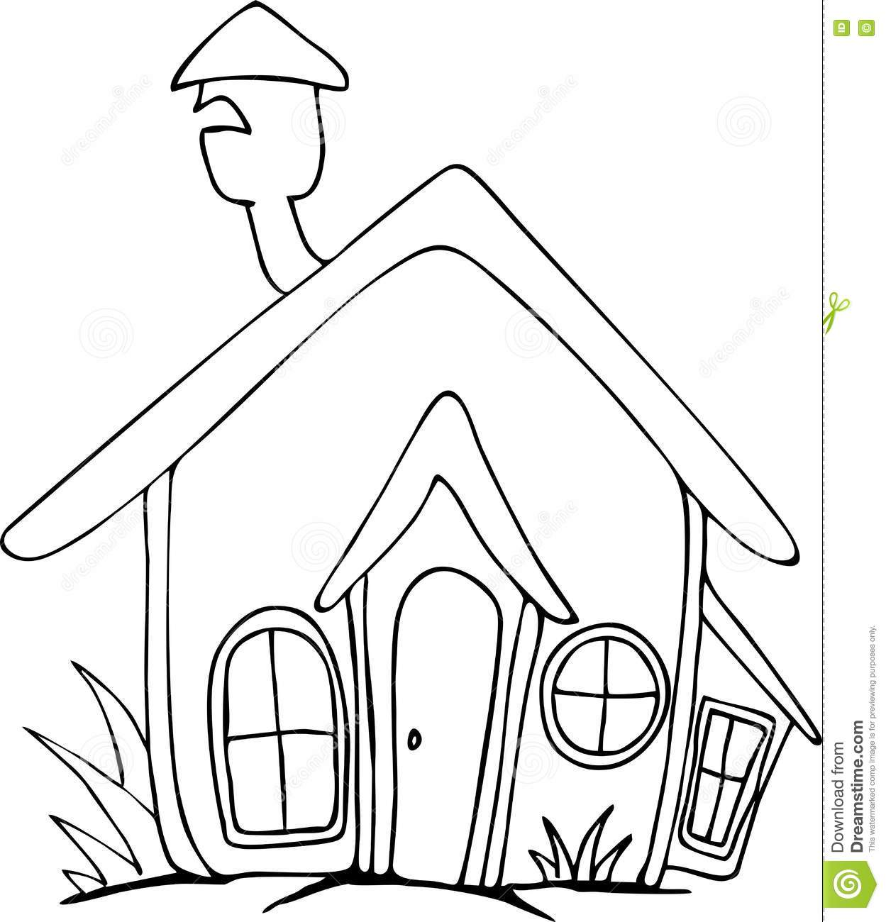 freehand drawn cartoon house stock vector illustration of block Black and White Cartoon Skeleton doodle freehand drawn cartoon house