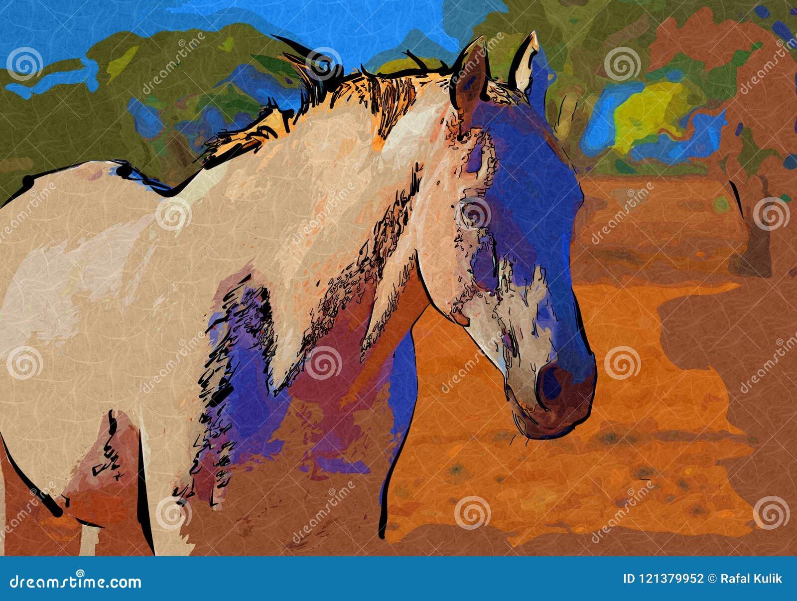 Freehand Horse Head Art Design Illustration Abstract Drawing Stock Illustration Illustration Of Monochrome Faded 121379952