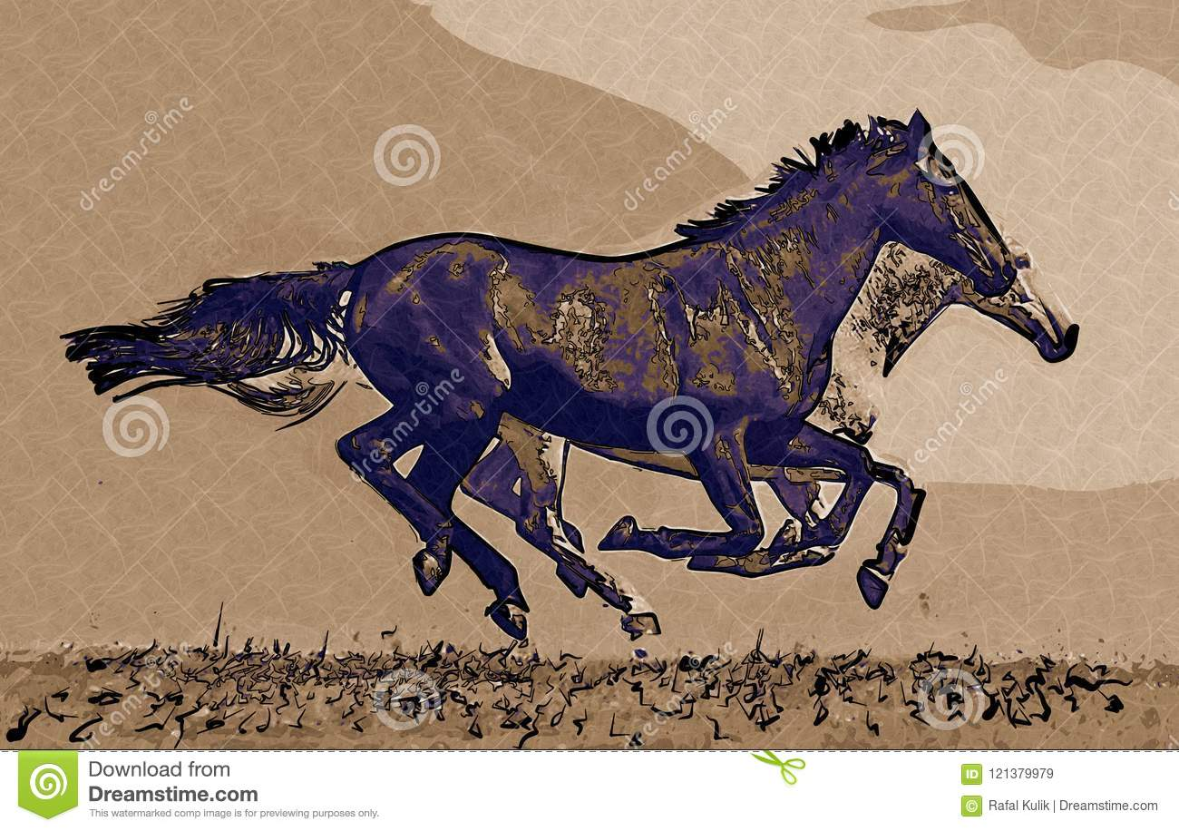 Freehand Horse Head Art Design Illustration Abstract Drawing Stock Illustration Illustration Of Head Pencil 121379979