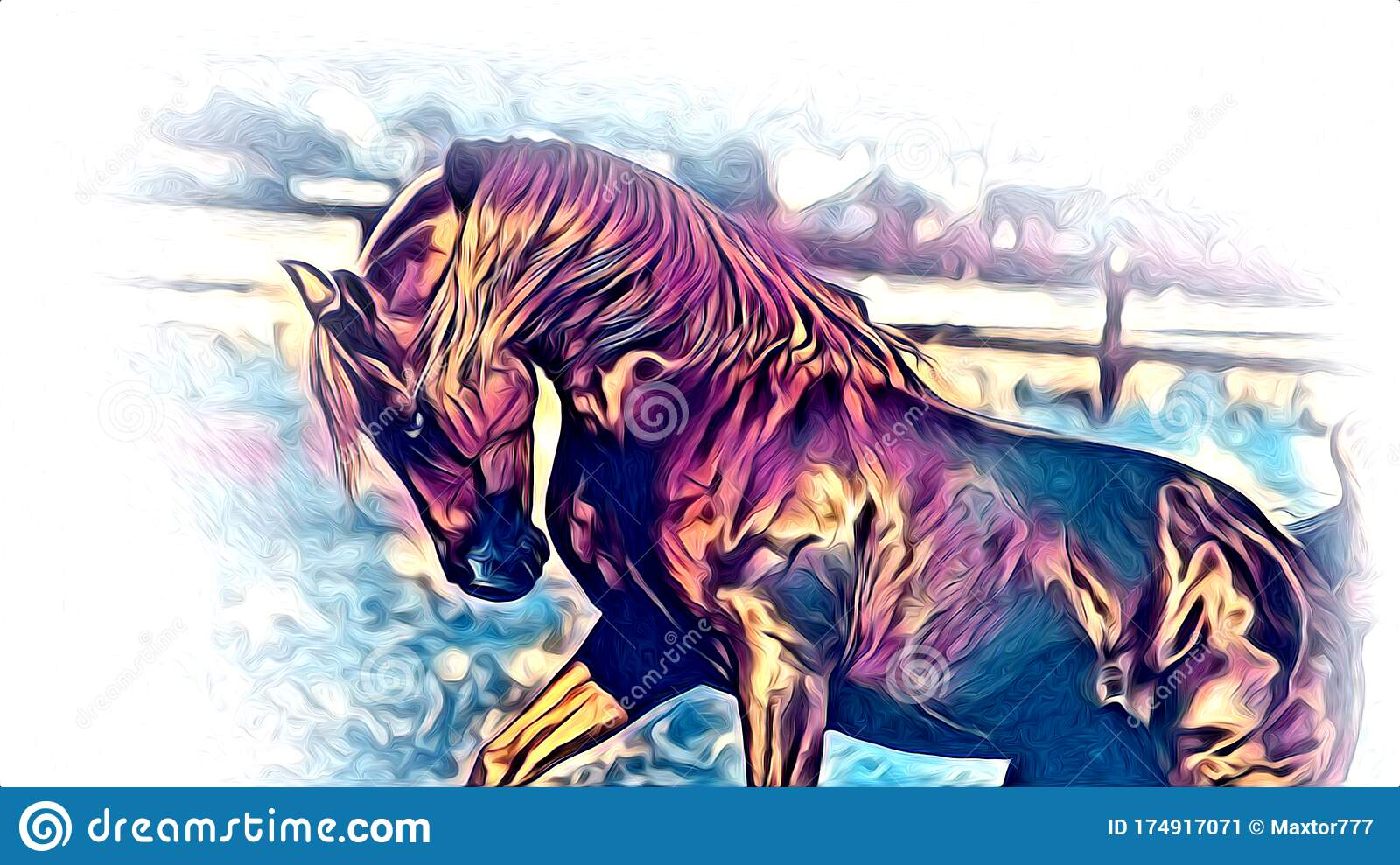 Freehand Horse Head Pencil Drawing Color Isolated Funny Artowkr For Design Stock Illustration Illustration Of Beautiful Cute 174917071
