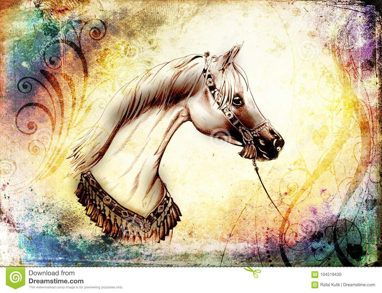 Freehand Horse Head Pencil Drawing Stock Illustration Illustration Of Portrait Mare 104519430