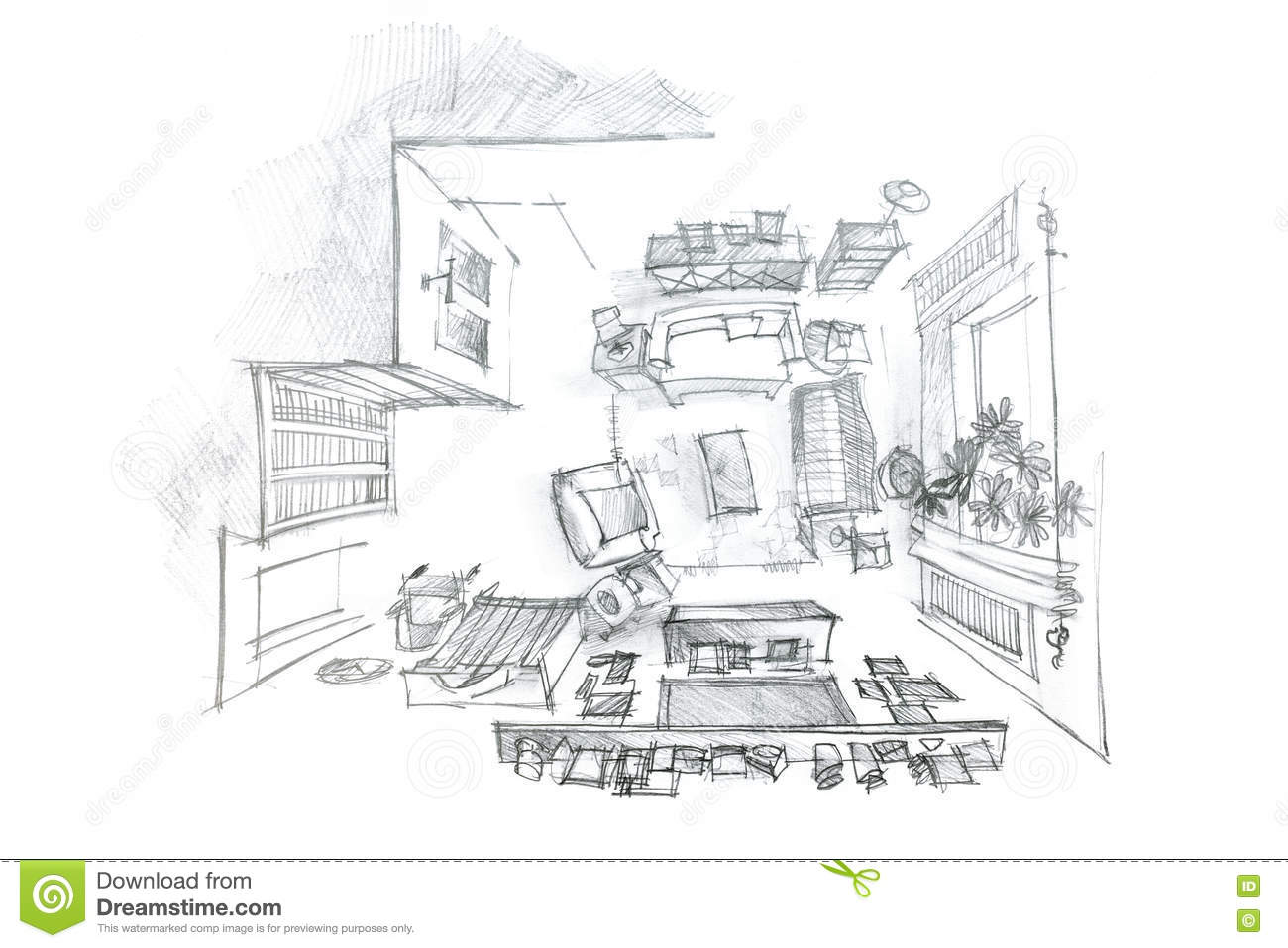 Freehand Interior Sketch Of Living Room With Furniture