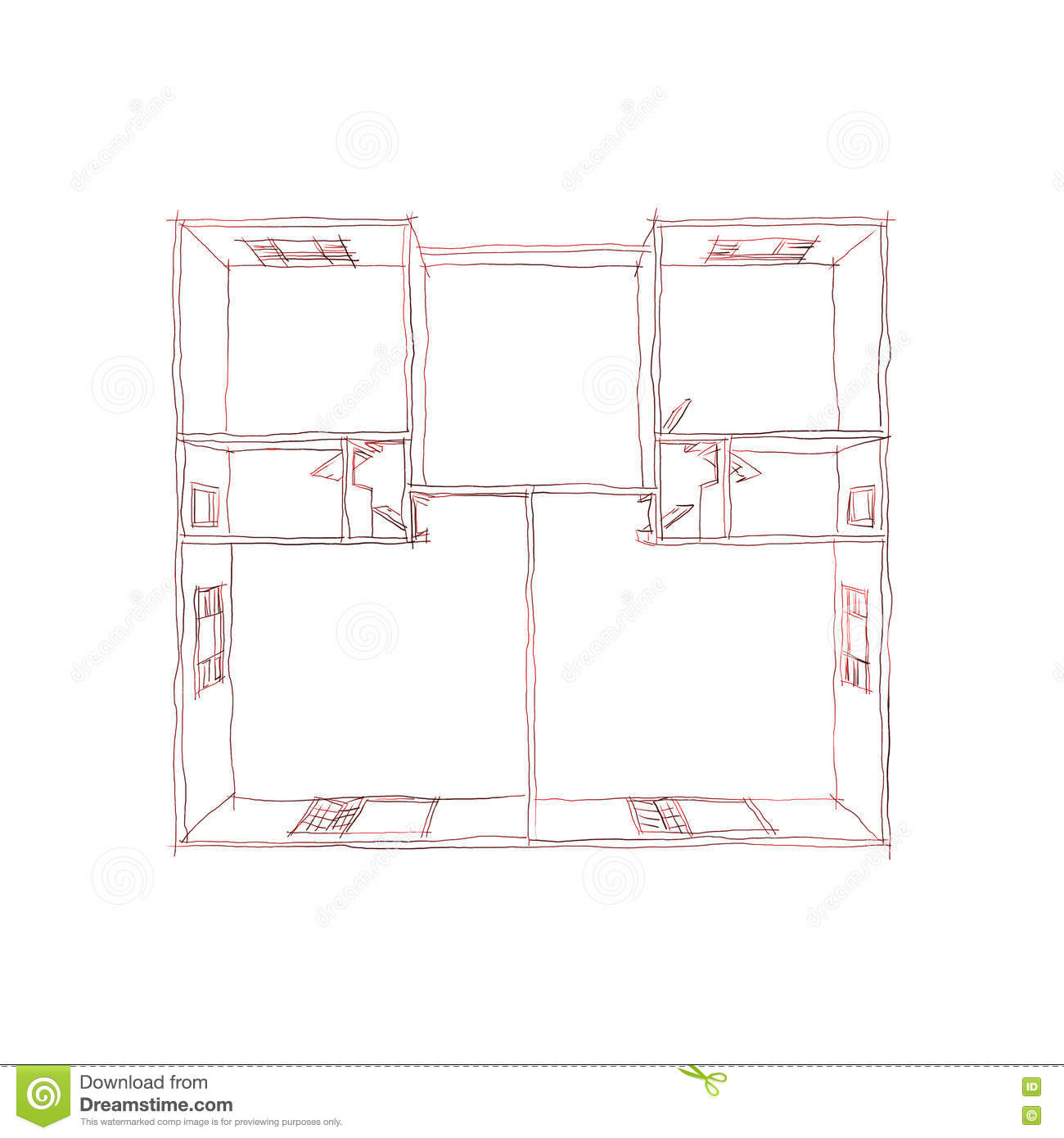 freehand pen sketch of 3d plan view of empty home apartment stock
