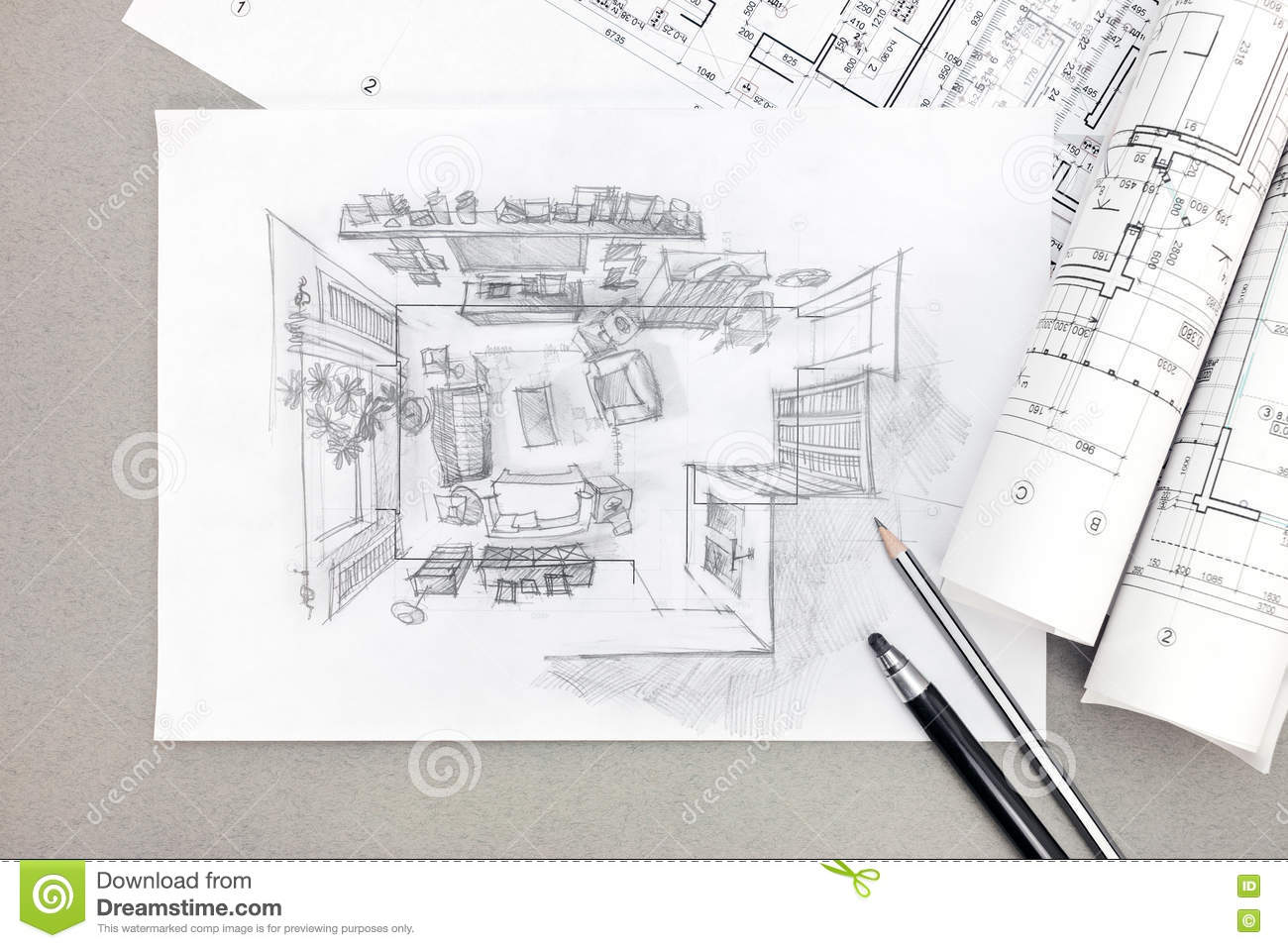 Freehand Sketch Architectural Drawing Of Living Room With