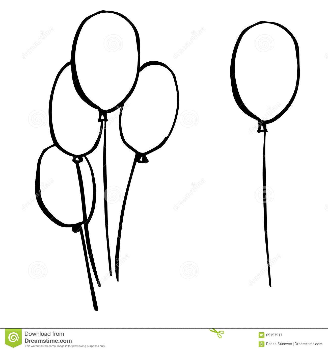 freehand sketch illustration of balloons