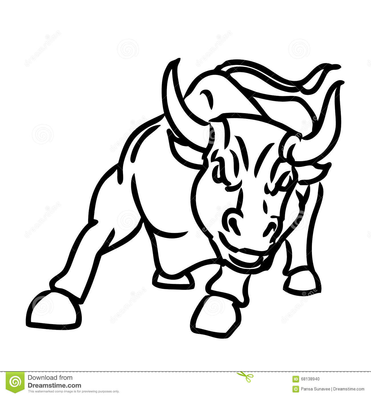 Freehand Sketch Illustration Of Charging Bull Stock Vector ...