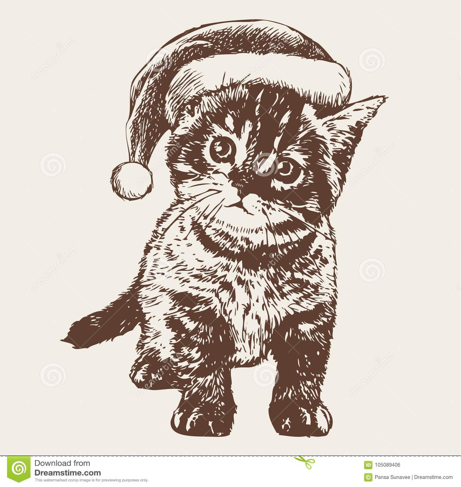 Little Cat, Kitten With Christmas Santa Hat Stock Vector