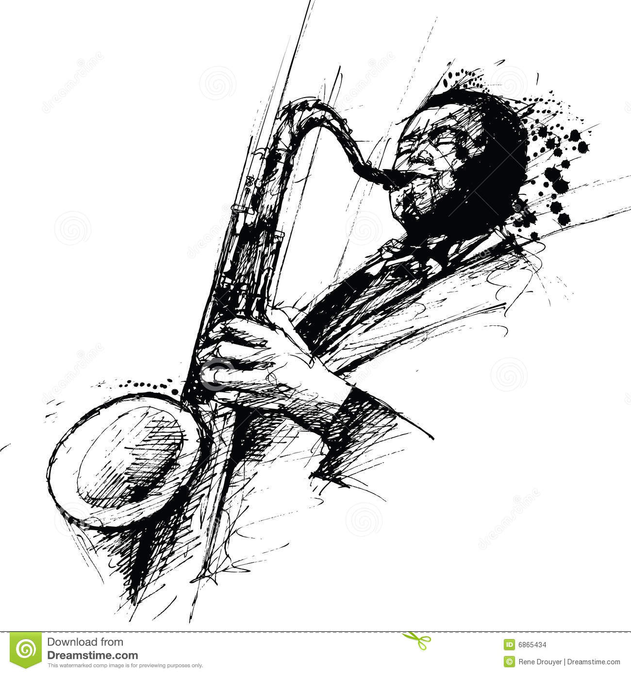 Freehanding Drawing Of A Jazz Saxophonist Stock Images - Image ...