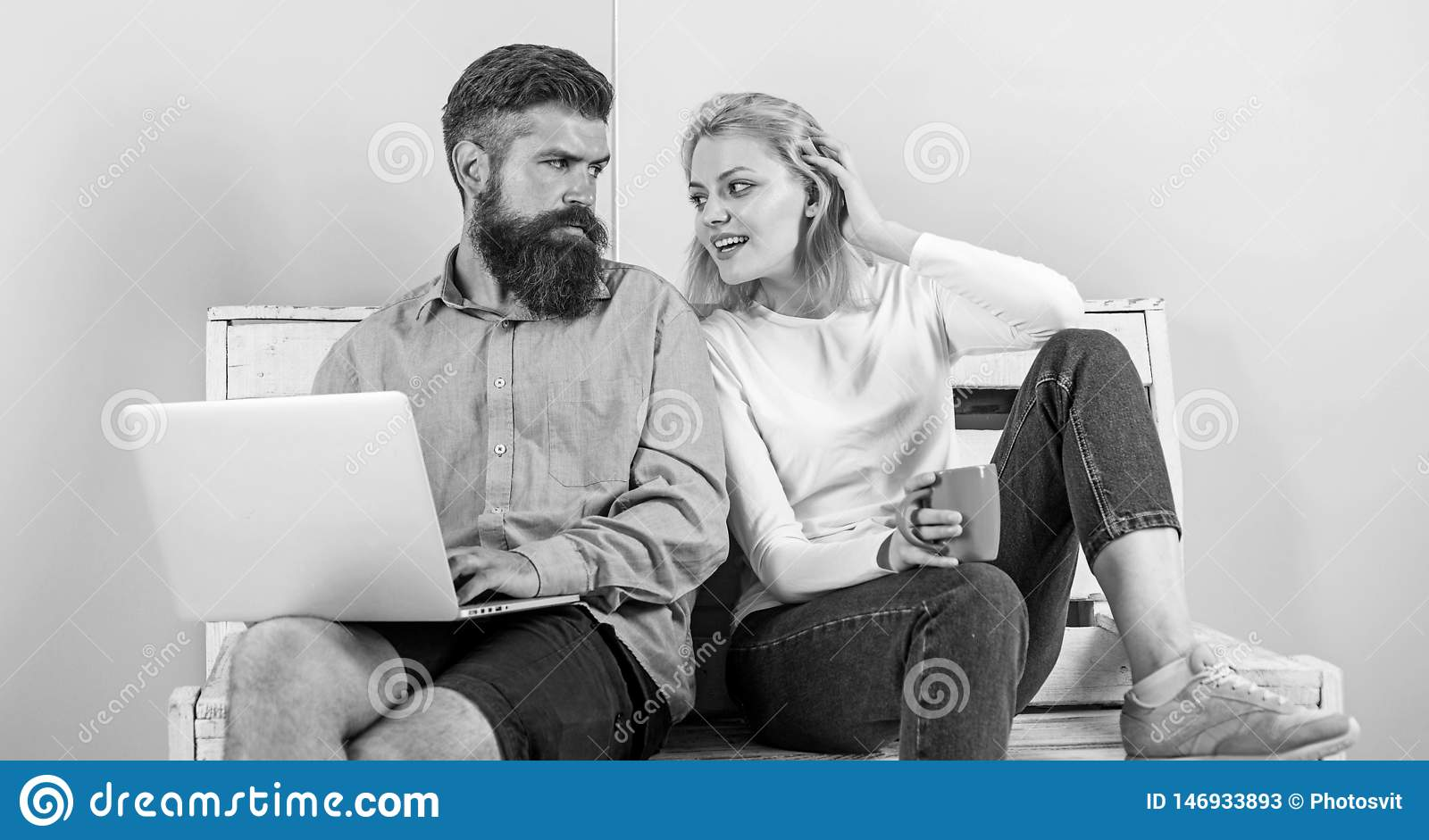 Freelance benefits. Man works as internet technologies expert on freelance. Woman smiling face drink tea or coffee near
