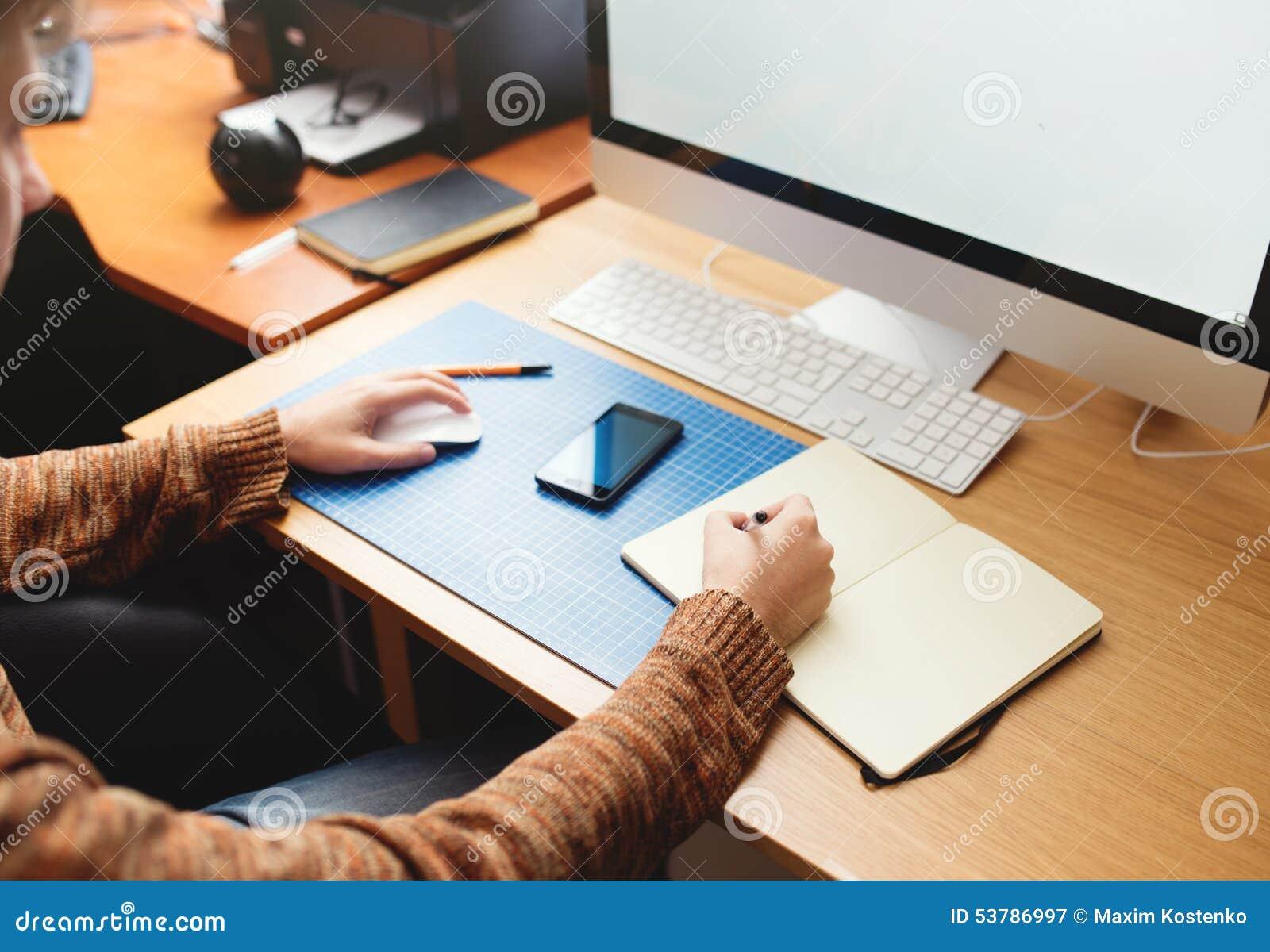 Freelance Developer And Designer Working At Home Stock Photo Image 53786997