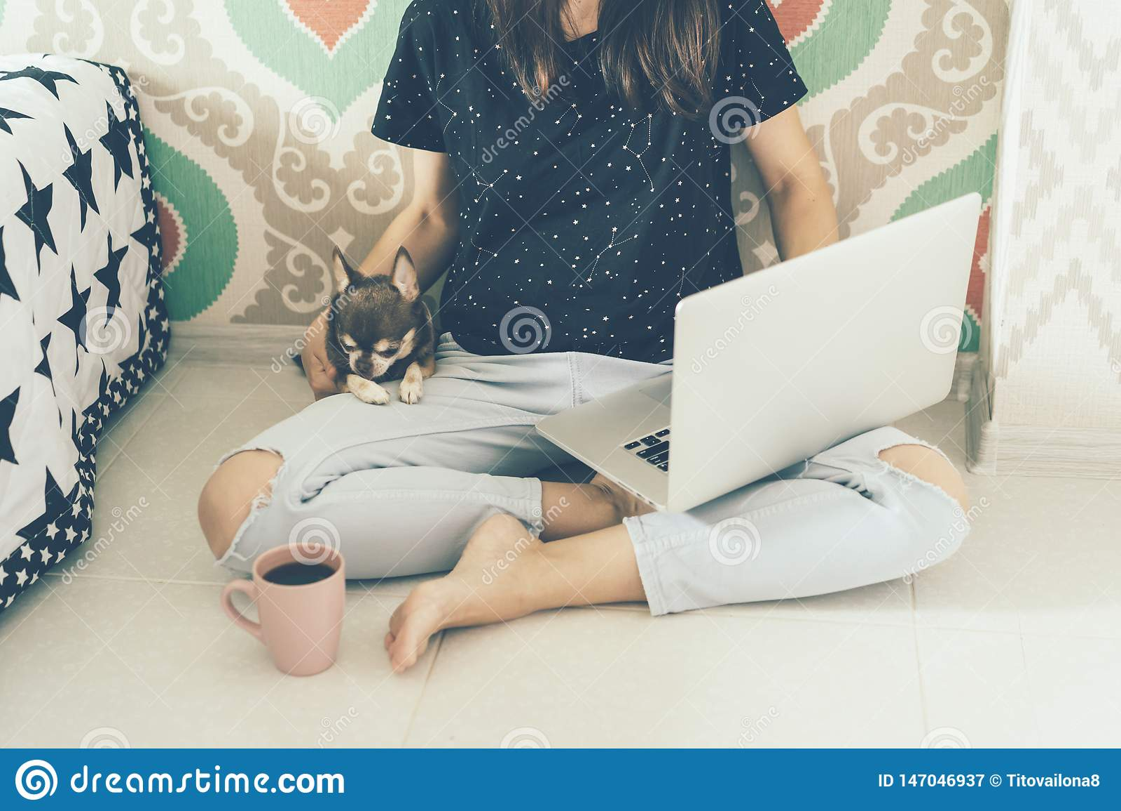 Freelancer de la muchacha con el ordenador portátil y el perrito