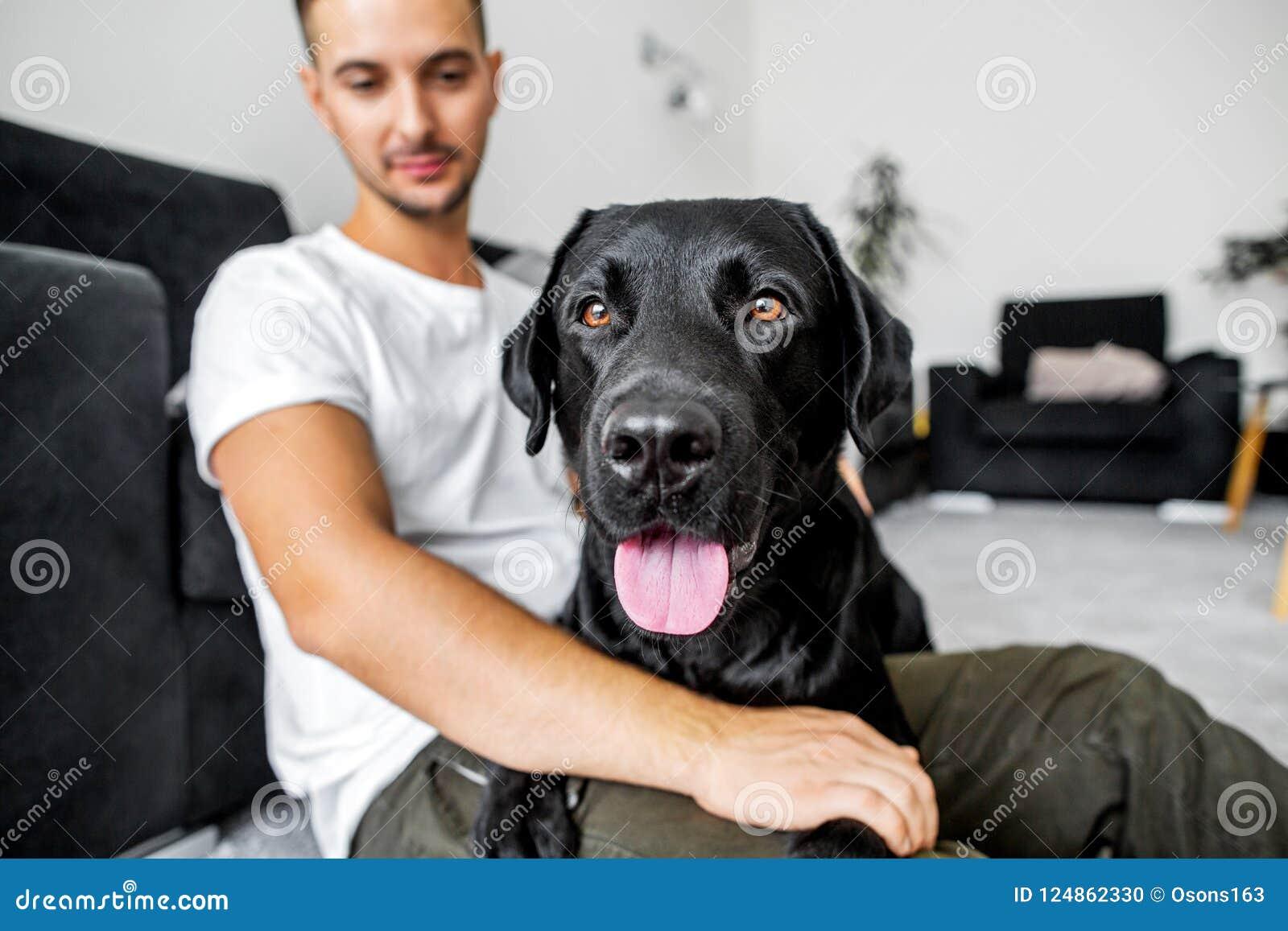 Freelancer facet siedzi w domu pracować z psem w uścisku,