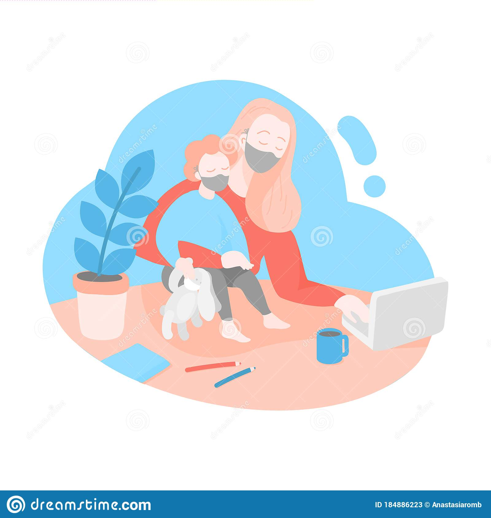 Freelancer Woman Working Online On Quarantine Stock Vector