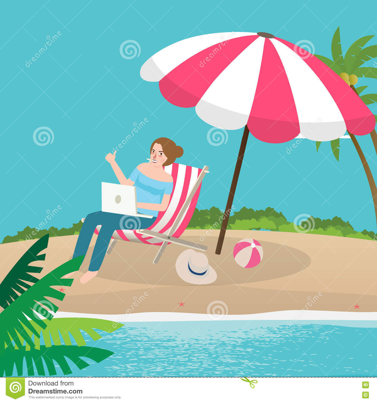 Woman Enjoying At Beach Stock Image Image Of Pleasure: Freelancer Working Remote Enjoy On The Beach Sand With
