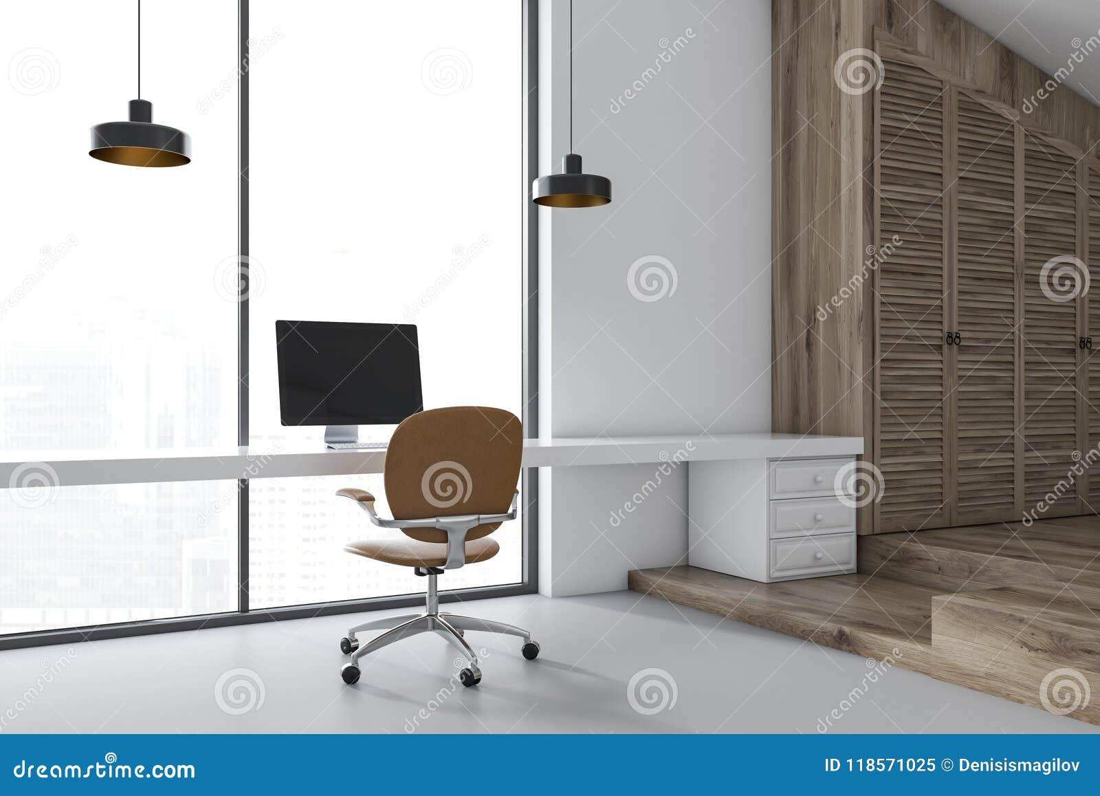 White Trendy Home Office Interior
