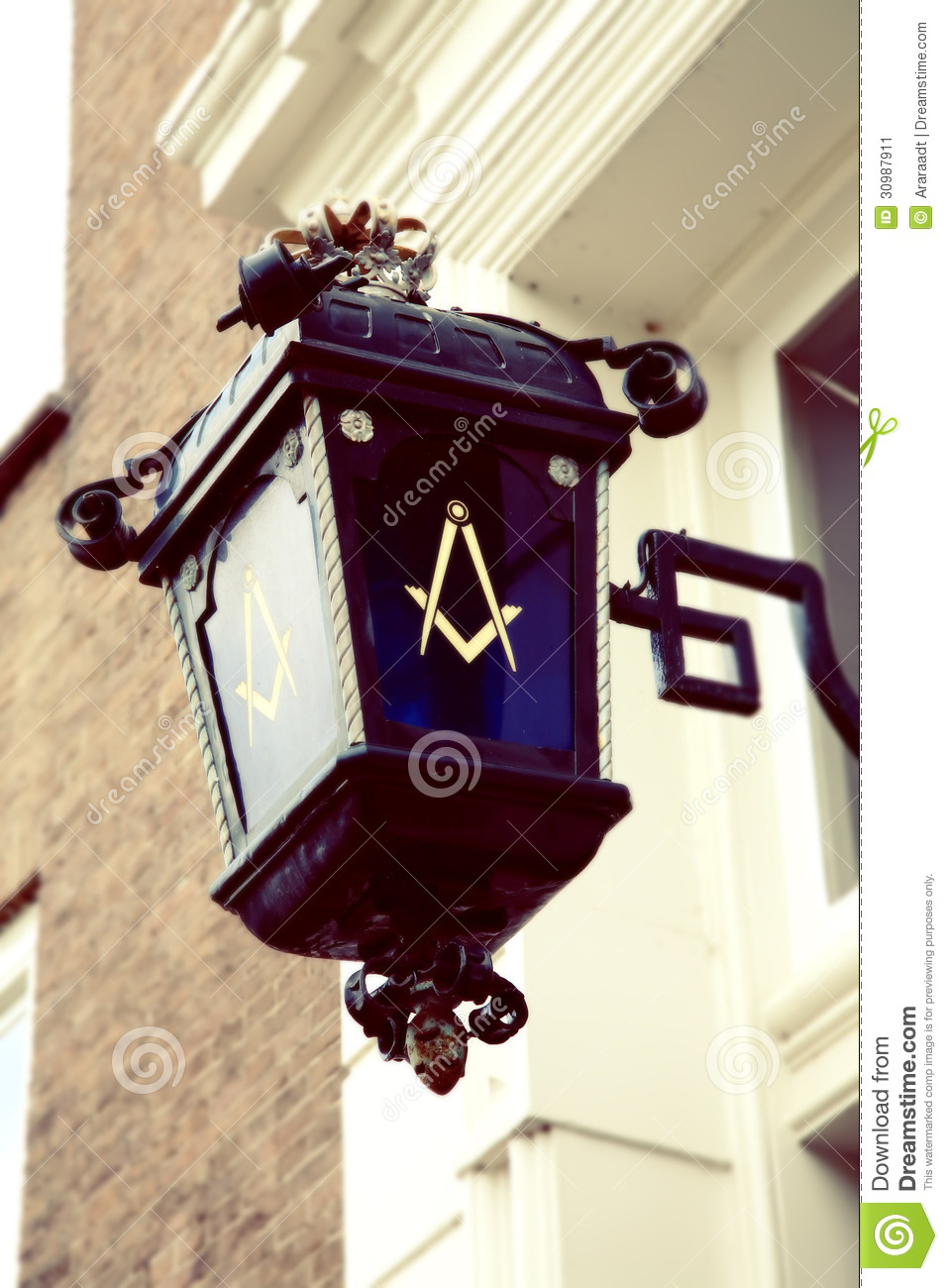 freemason symbol on street lamp stock image