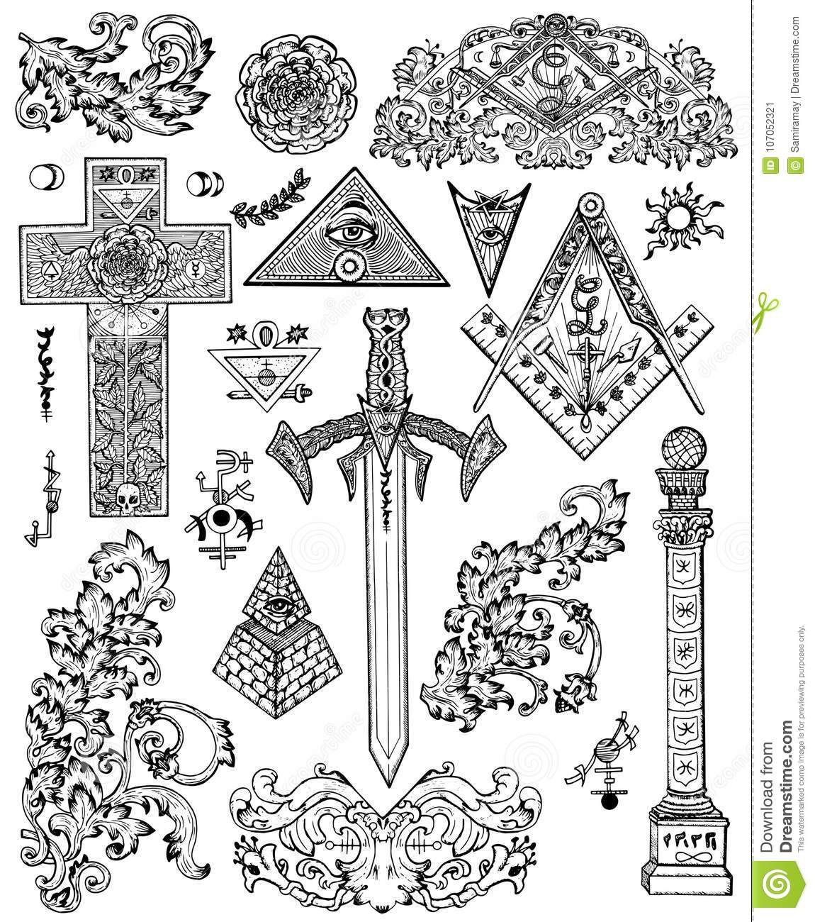 Design Set With Graphic Drawings Of Mystic Religious And Fantasy