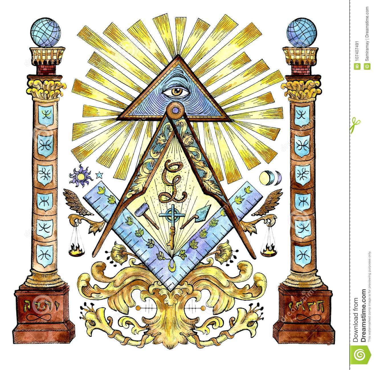 Watercolor Illustration With Freemason And Mysterious Symbols