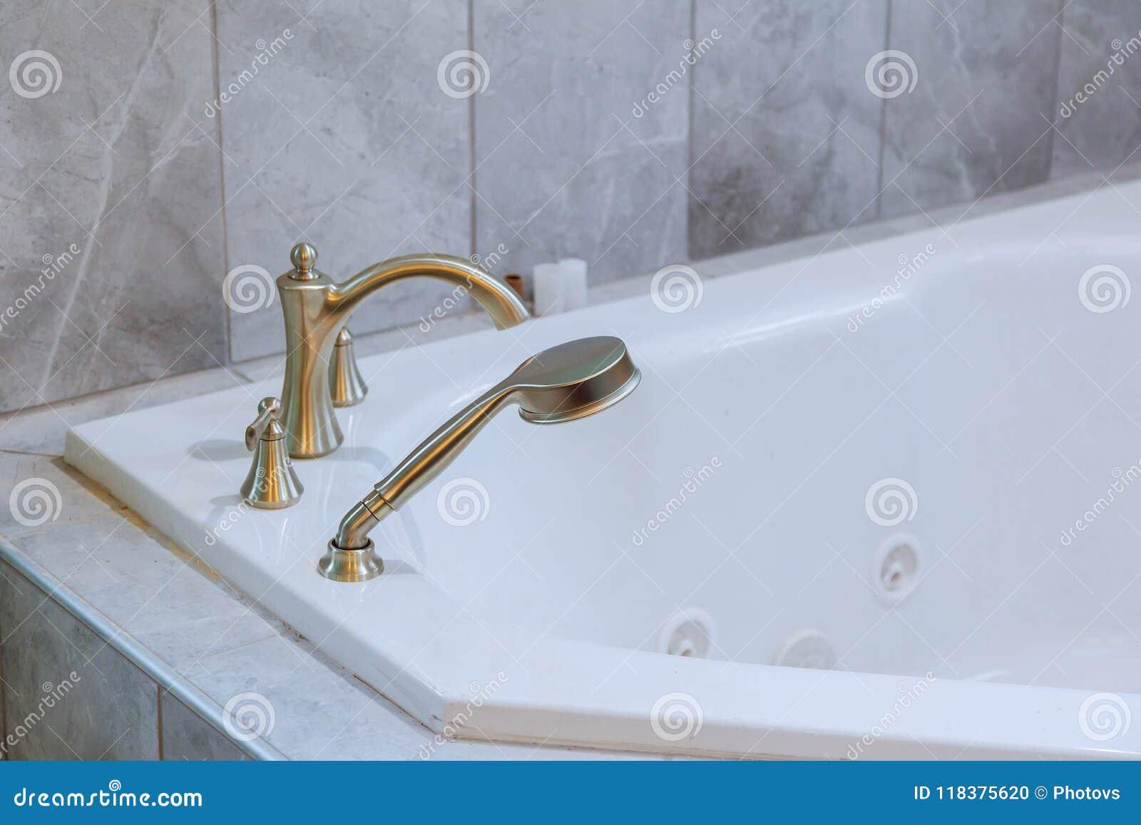 Freestanding Bath With Bath White Modern Bathroom Stock Photo ...
