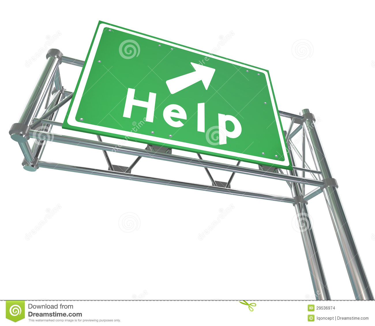 Freeway Sign - Help - Isolated