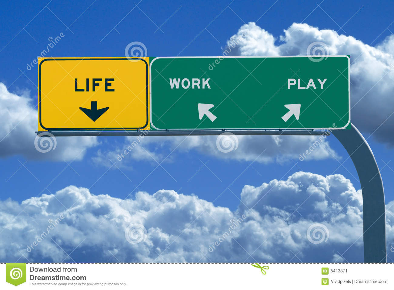 Freeway Sign Reading: Life, Work, Play