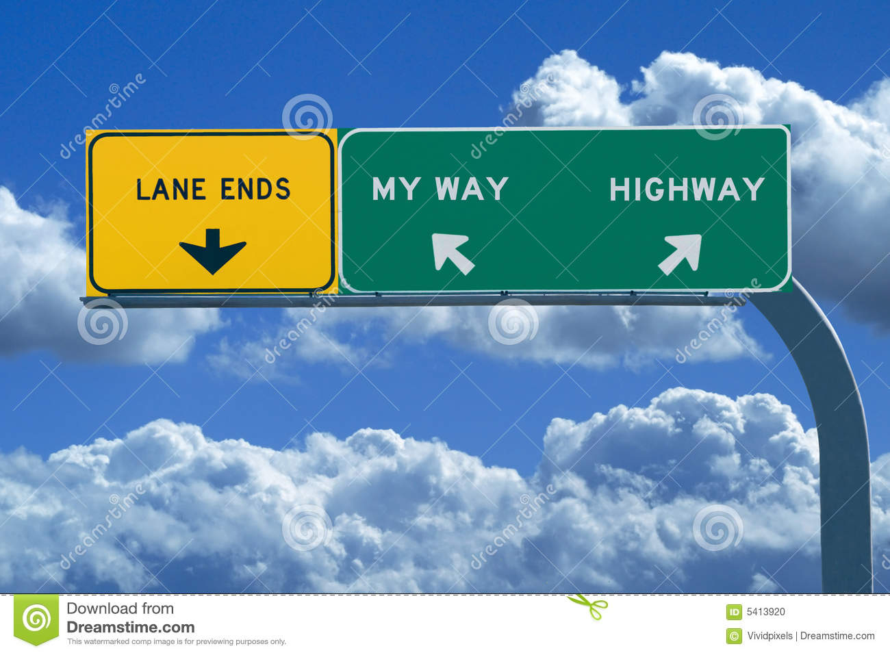 Freeway sign reading My Way or Highway