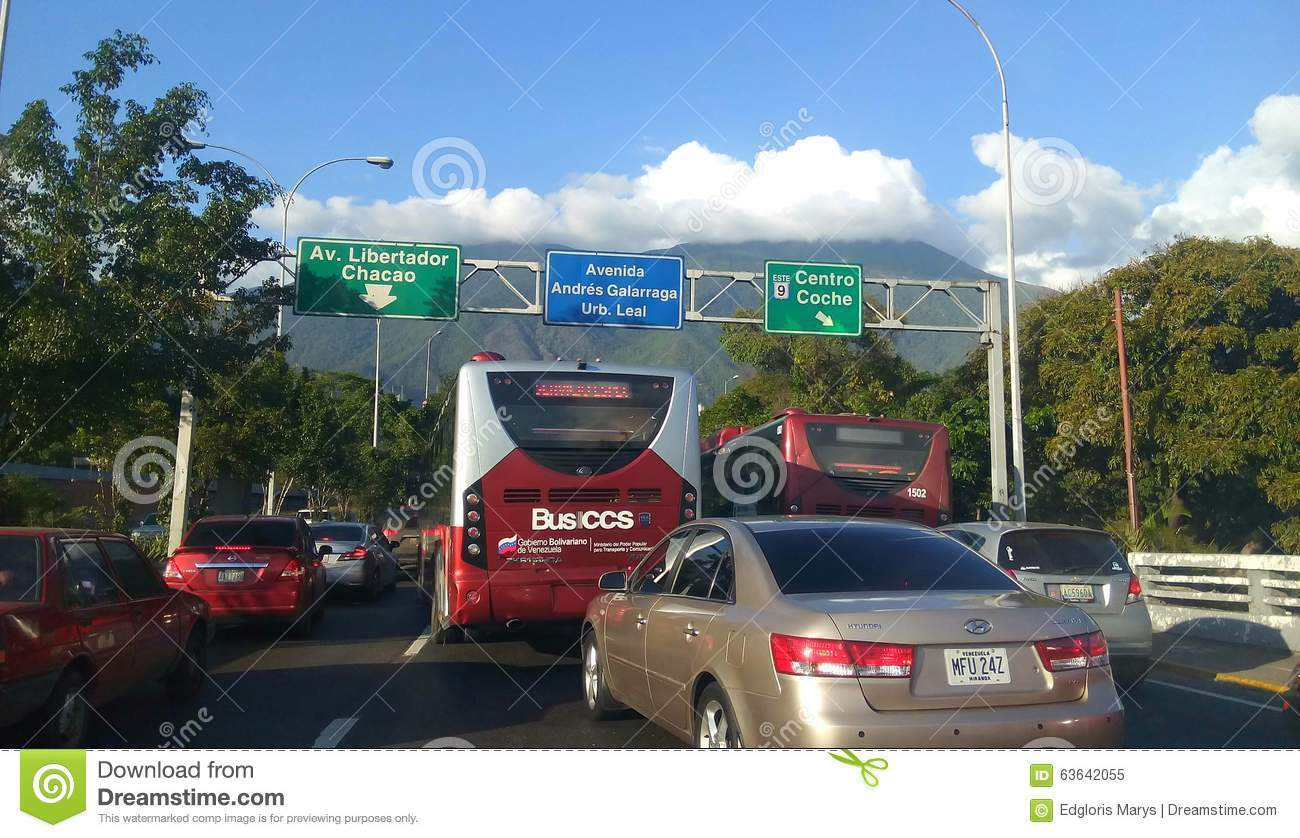 A Freeway With Road Traffic Signs In Chacao Venezuela South America