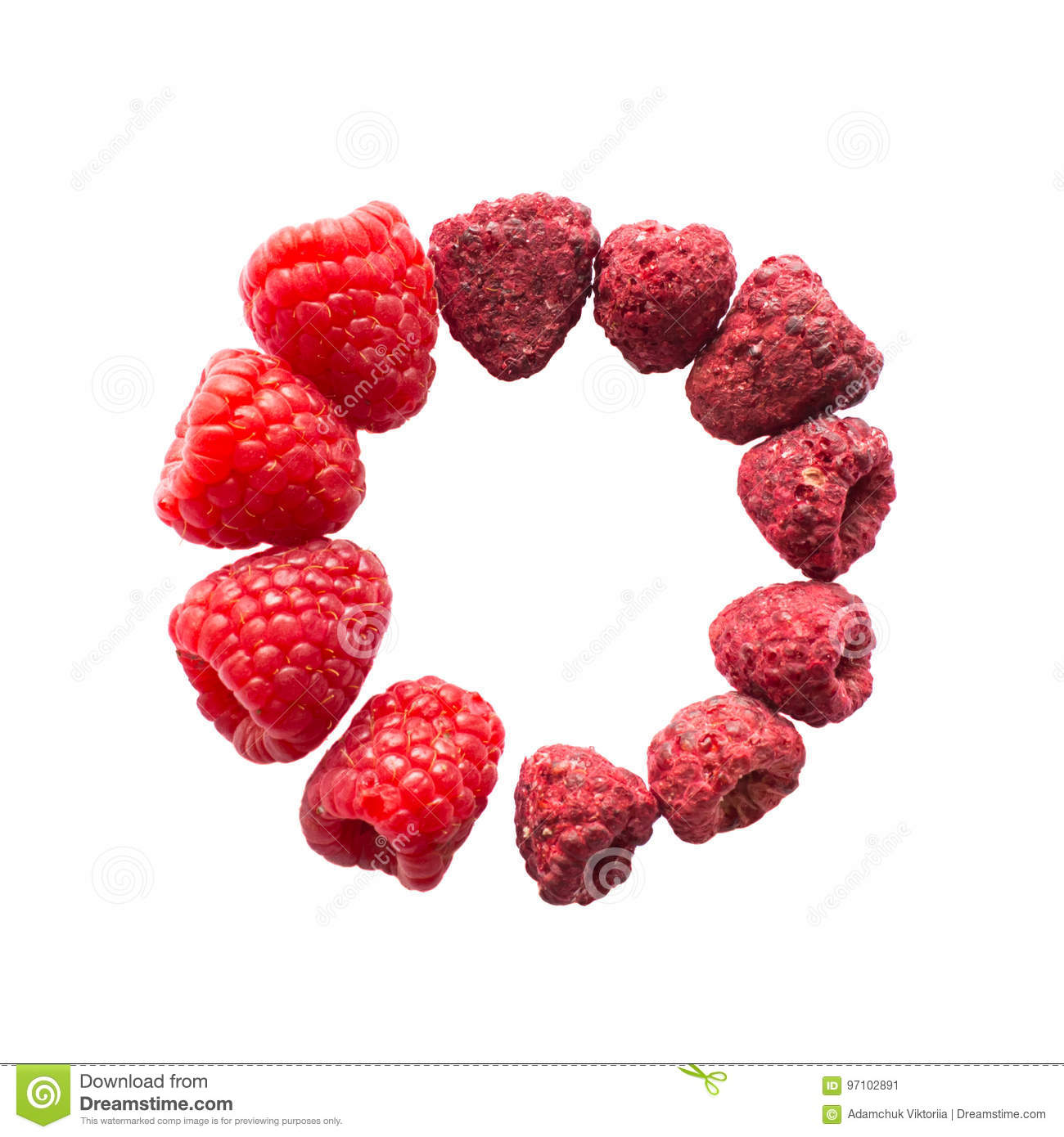 Freeze dried and fresh raspberry on a white background in the circle