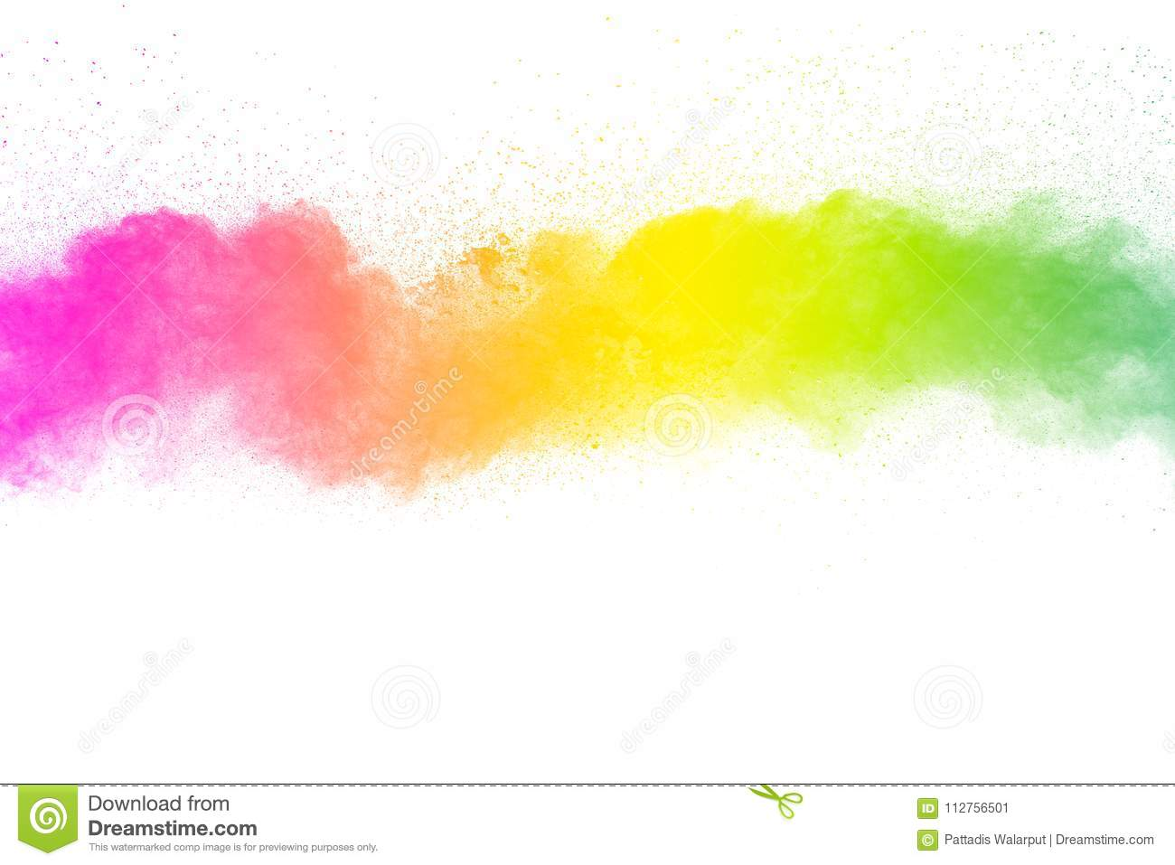Freeze motion of color particles on white background. Multicolored granule of powder explosion