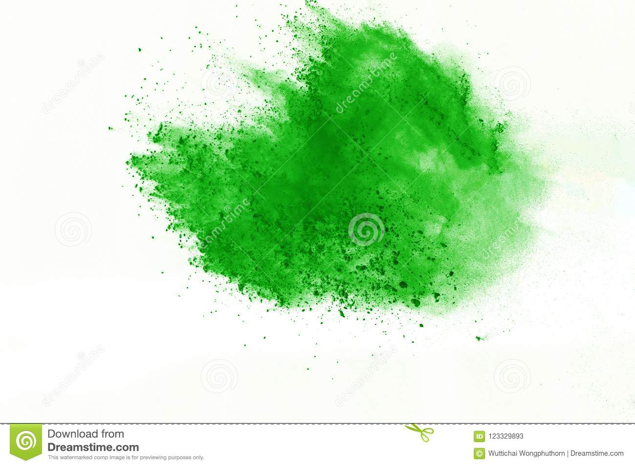 Colored powder explosion. Colore dust splatted.