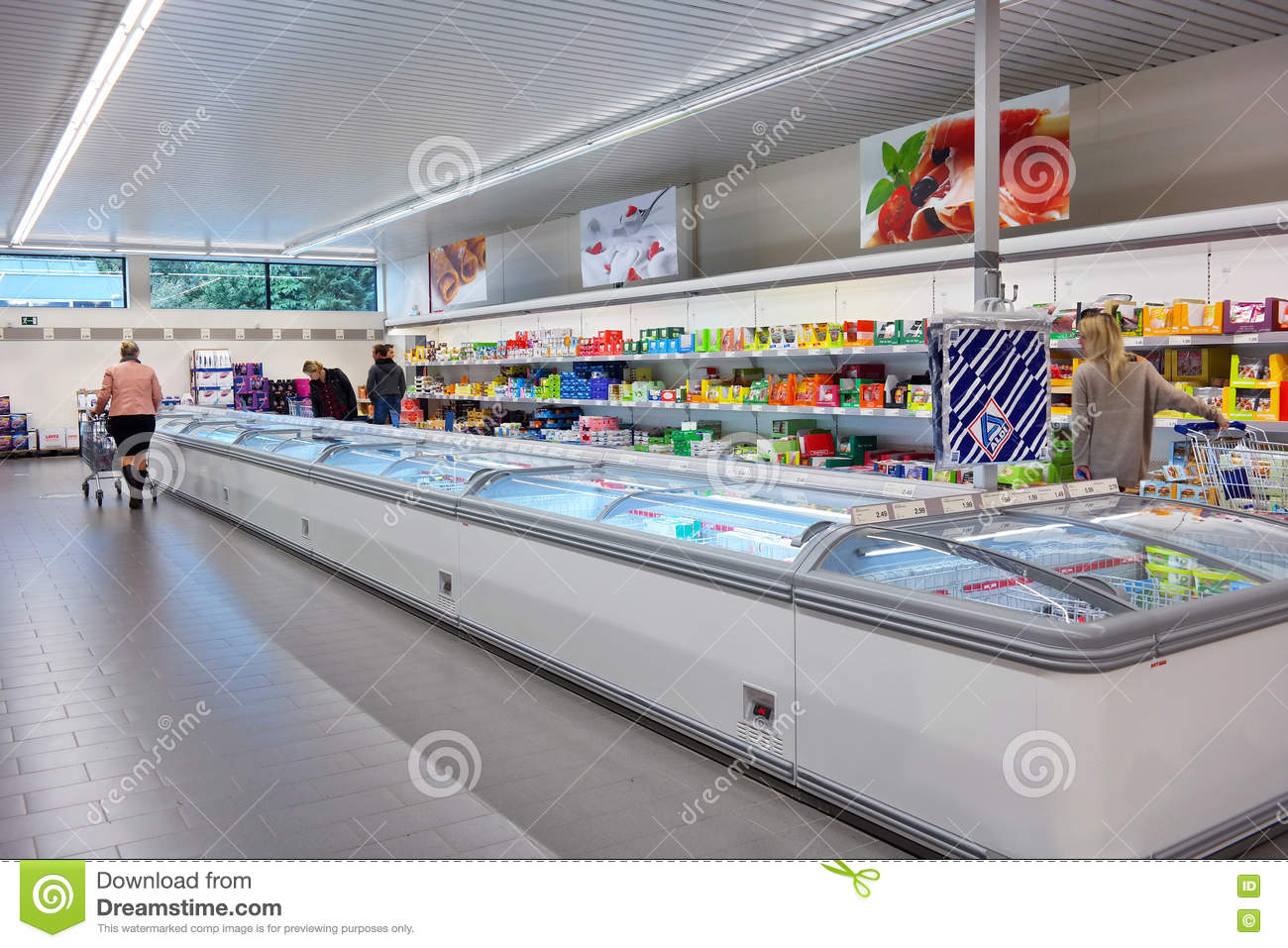 Aldi stock photos royalty free pictures freezer section of an aldi supermarket belgium october 2015 interior of aldi supermarket biocorpaavc