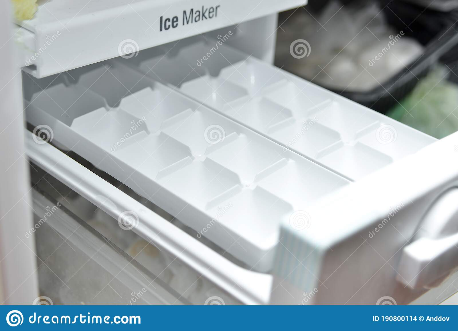Freezer Tray For Freezing Ice Cubes In The Freezer Ice Maker For Refrigerators Household Stock Photo Image Of Clean Food 190800114
